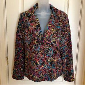 Weavz Jackets & Coats - WEAVZ Black Blazer w Multi Colored Wool/Cotton XL